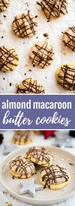 These easy to make Almond Macaroon Butter Cookies have a butter cookie base, an almond macaroon topping, and a chocolate drizzle on top!