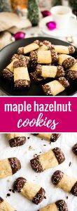 These Maple Hazelnut Cookies are so easy to make! Ground hazelnuts and maple syrup make these cute log cookies extra flavorful.
