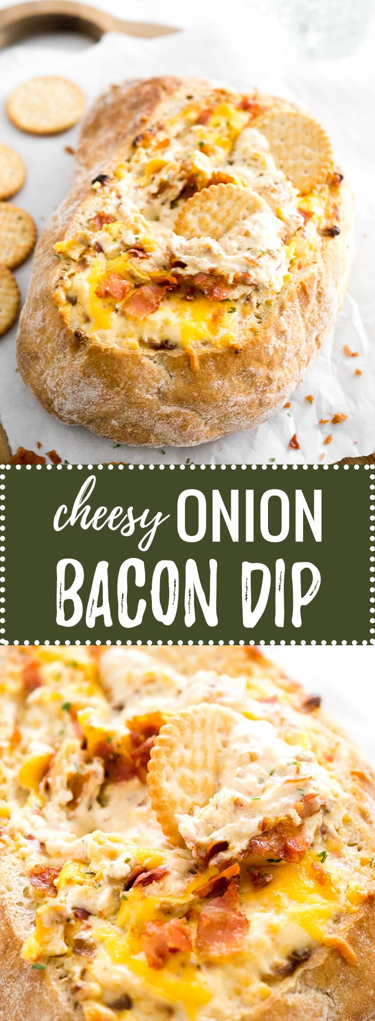 This Cheesy Bacon and Caramelized Onion Dip is sure to be a huge hit at your next party! A hot dip with onions, bacon, and cheese that's so fast to make.