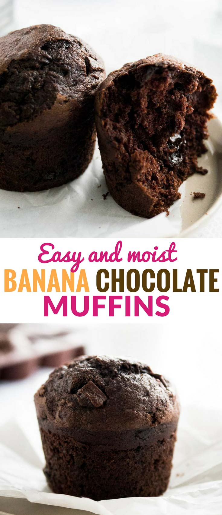 Chocolate Banana Muffins are so easy to make from scratch with just the right balance of chocolate and banana flavor! This easy bakery-style muffin recipe is loaded with chocolate and makes fluffy and moist muffins that make a great snack or breakfast.