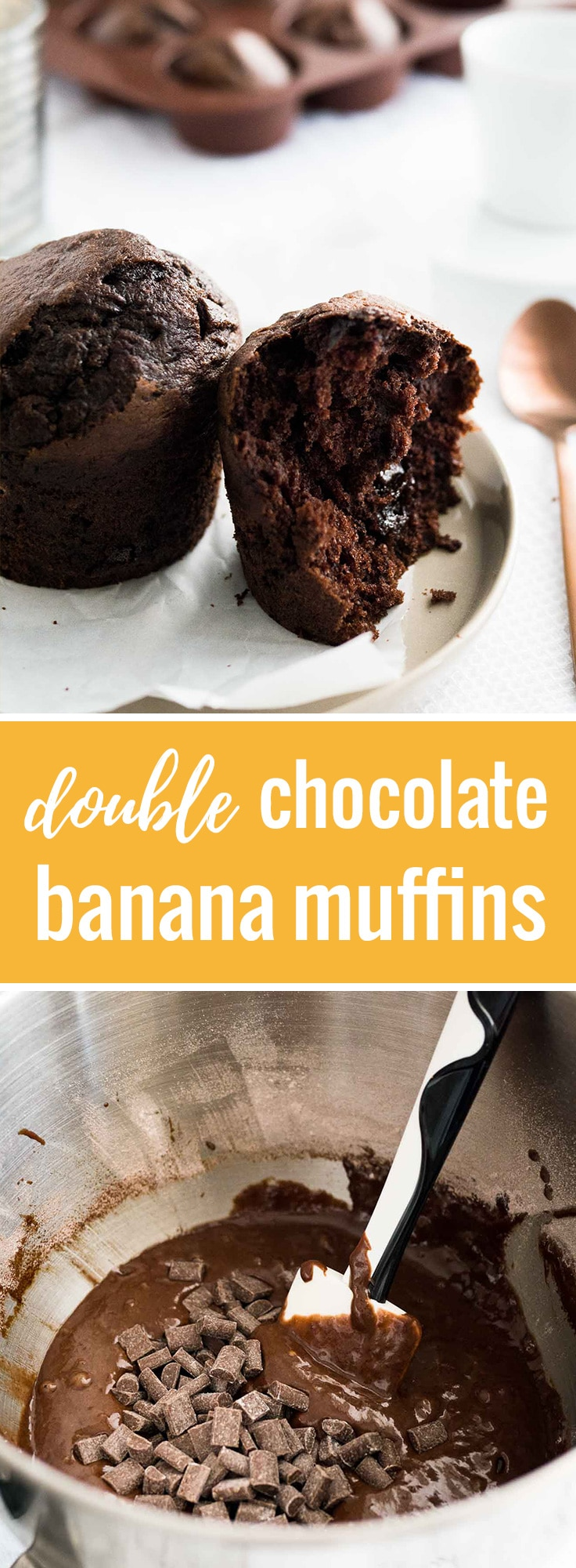 These Double Chocolate Banana Muffins are fluffy and delicious yet they're healthier than a typical bakery-style muffin! A great breakfast treat.