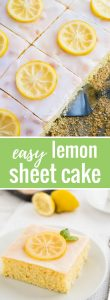 An easy lemon sheet cake recipe that is made in a 9x13-inch pan and has a delicious simple lemon glaze on top. This lemon cake tastes even better on the next day!