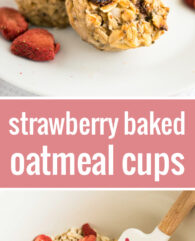 These Strawberry Baked Oatmeal Cups are perfect for busy mornings! A healthy grab-and-go breakfast or snack filled with oats, strawberries, and chia seeds.