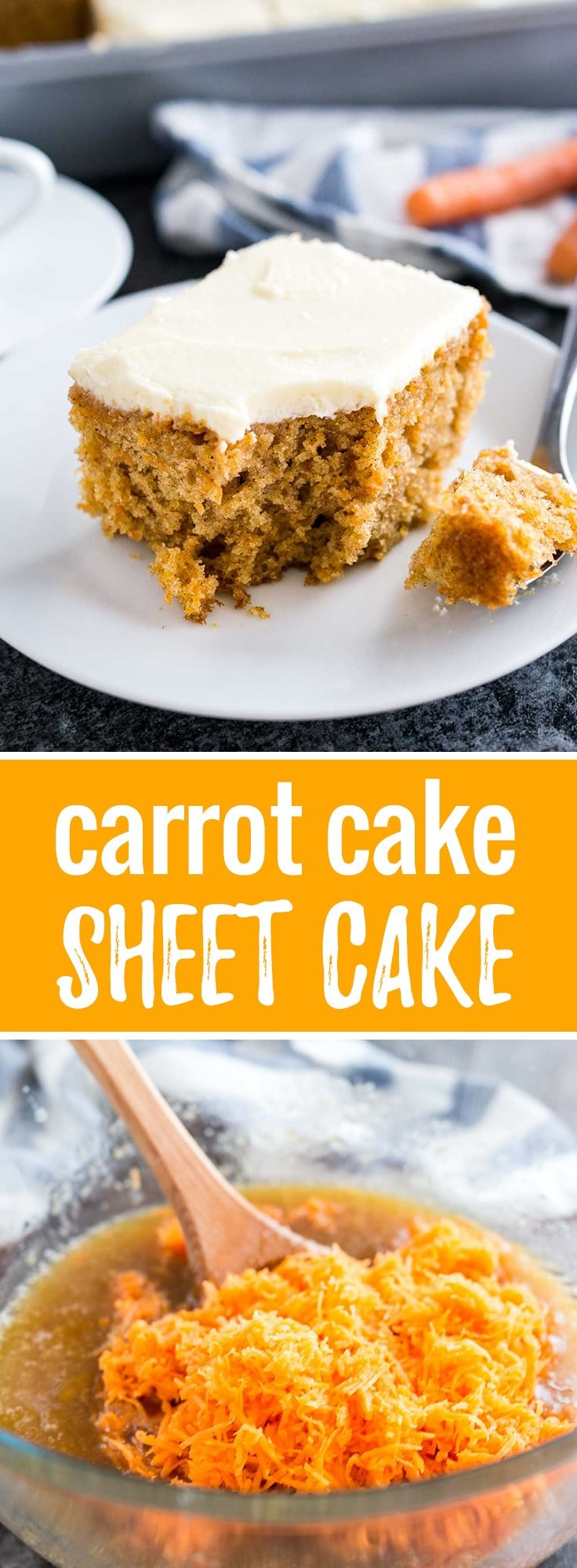 This easy Carrot Cake is deliciously moist and topped with a smooth cream cheese frosting! A nut-free sheet cake that is ready in 35 minutes and super simple to throw together.