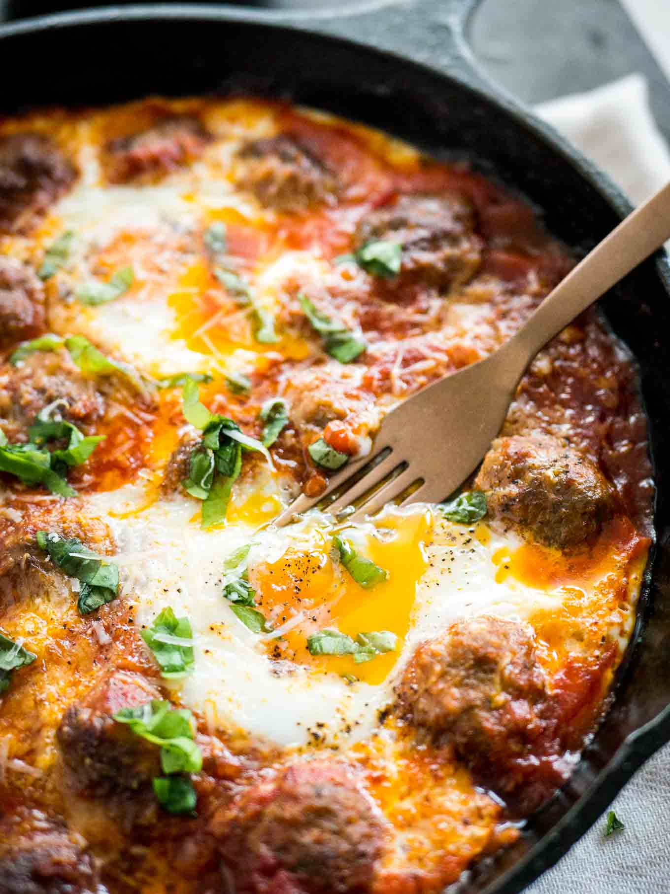Italian Baked Eggs And Meatballs Plated Cravings