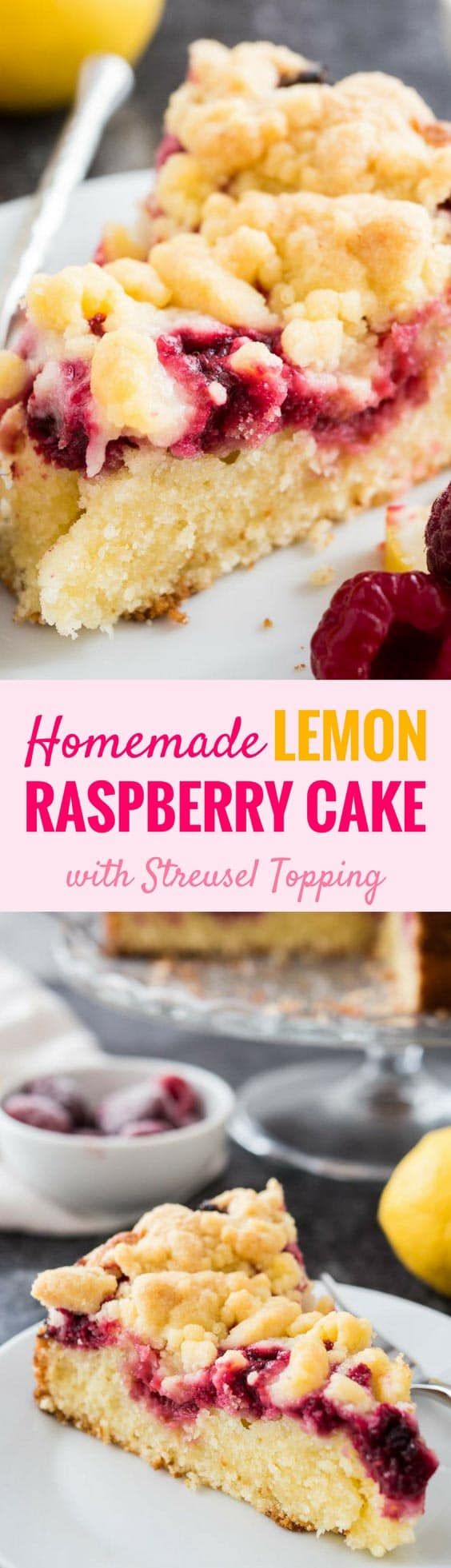 This easy Lemon Raspberry Cake is topped with delicious cookie-like streusel and filled with juicy raspberries! A buttery and moist lemon coffee cake with a layer of delicious raspberry filling that is perfect for spring and summer. Your guests will be begging you for the recipe! #CoffeeCakeRecipe #LemonRaspberryCake #LemonCrumbCake #SummerRecipes #CakeRecipes