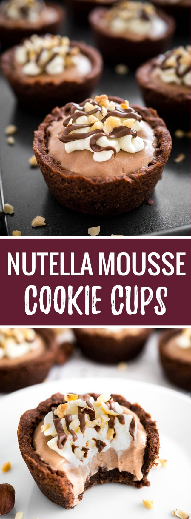These Nutella Mousse Cookie Cups are the perfect way to indulge! They taste insanely delicious and are great for parties and special occasions. I promise, you just found your favorite way to eat Nutella.