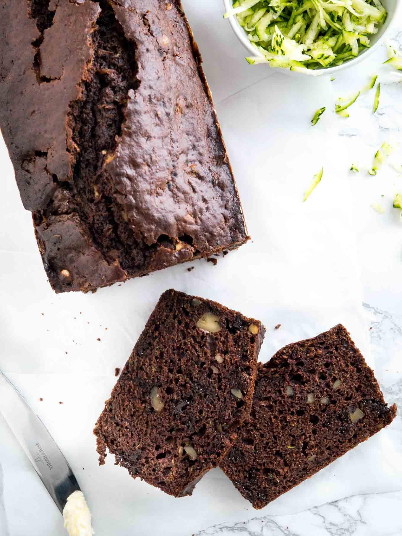 Moist Chocolate Zucchini Bread Recipe with Walnuts