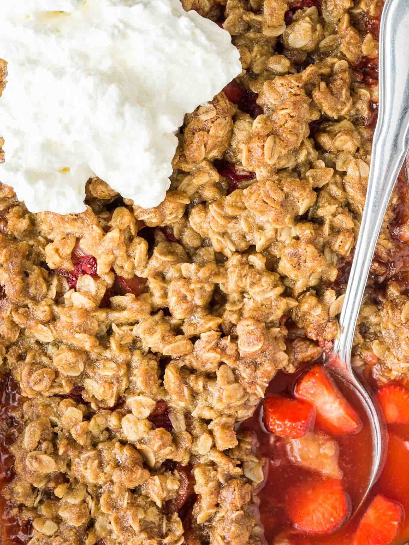 This easy Strawberry Rhubarb Crisp is the perfect summer dessert! Easier to make than pie and prepped in just minutes.