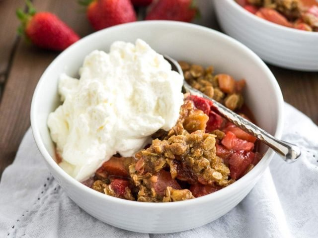 Strawberry Rhubarb Dessert with Whipped Cream