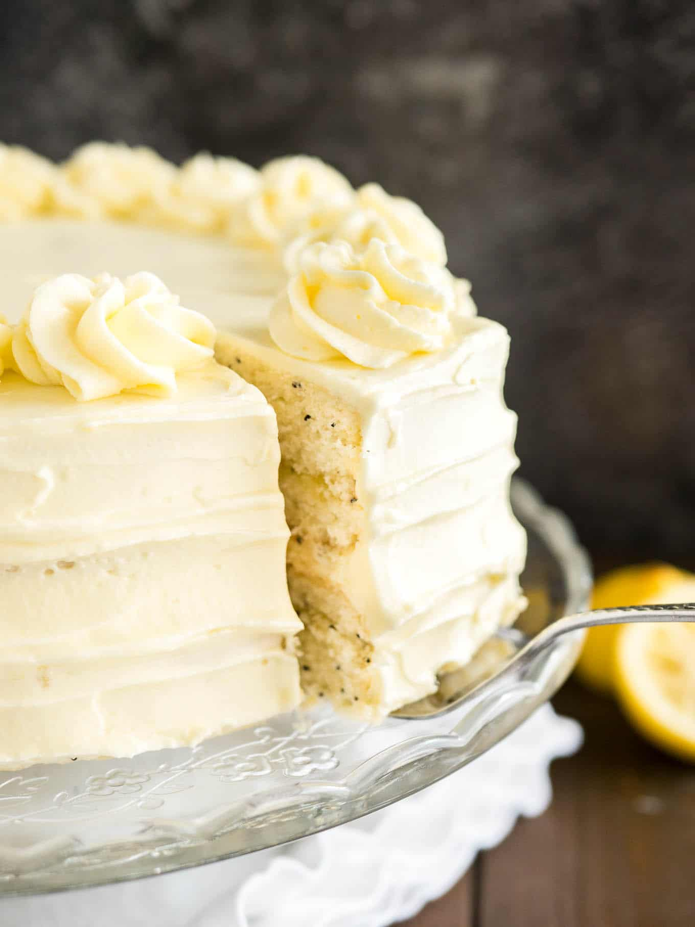 Lemon Poppy Cake Almond Buttercream