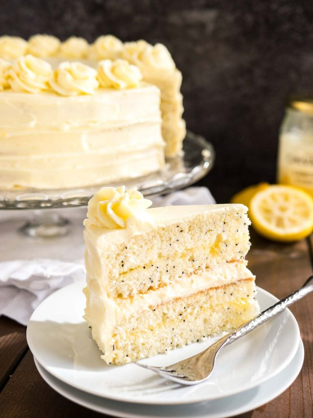 Poppy Seed Cake with Lemon Curd Frosting