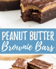 These Peanut Butter Brownie Bars are so delicious and easy to make! Fudgy brownies and peanut butter - two of my favorite things combined make this treat irresistible.