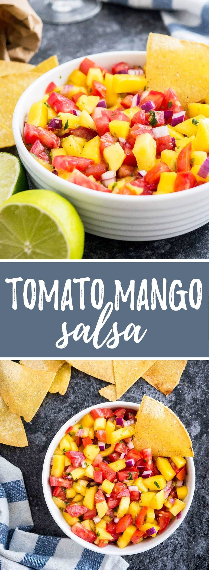 Tomato Mango Salsa is sweet, tangy, and slightly spicy! A simple and colorful recipe that is perfect for summer entertaining.