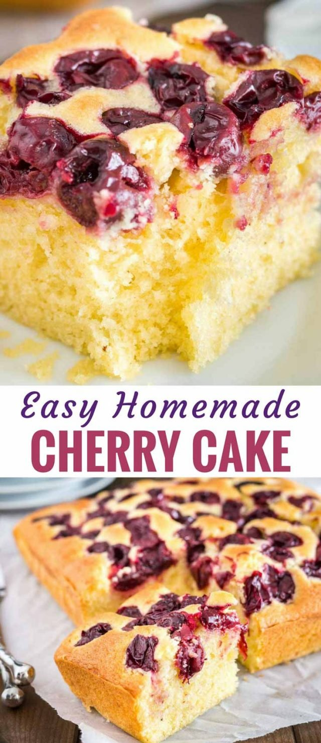 Cherry Cake with sour cherries and vanilla is a simple snack cake that tastes delicious and is so easy to make in less than 10 minutes. Perfect for surprise guests and evening sweet tooth cravings! #cherrycake #cherries #cake #coffeecake #easyrecipes #baking