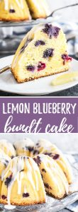 Lemon Blueberry Bundt Cake is dotted with blueberries and has sweet pops of juicy blueberries and fresh lemon flavor in every bite! This lemon bundt cake has a summery lemon glaze on top and is made with cream cheese to make it extra moist and tender.