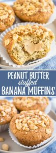 Peanut Butter Banana Muffins have a surprise inside and are so fluffy and moist. These easy banana muffins are filled with creamy peanut butter and topped with caramelized peanuts.
