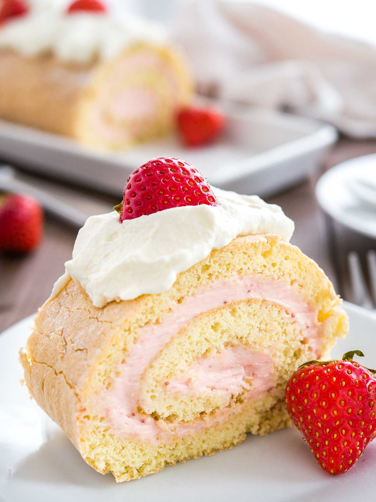 Strawberry Swiss Roll Cake Recipe Plated Cravings