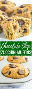 Zucchini Chocolate Chip Muffins are super moist and quick to make! They are a great way to use up all those zucchinis, freezer friendly, and make a perfect breakfast or lunch-box snack.