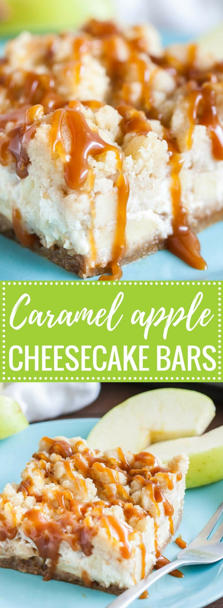 Easy Caramel Apple Cheesecake Bars have three delicious layers and are a perfect fall dessert! A graham cracker crust topped with a creamy cheesecake layer loaded with cinnamon spiced apples and cookie-like streusel and salted caramel on top.
