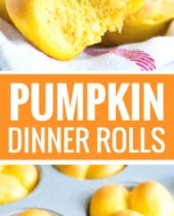 These Pumpkin Dinner Rolls are so soft and fluffy! My go-to fall roll recipe is special enough for Thanksgiving dinner but easy to make, freezer-friendly, and so delicious with just the right amount of pumpkin flavor.