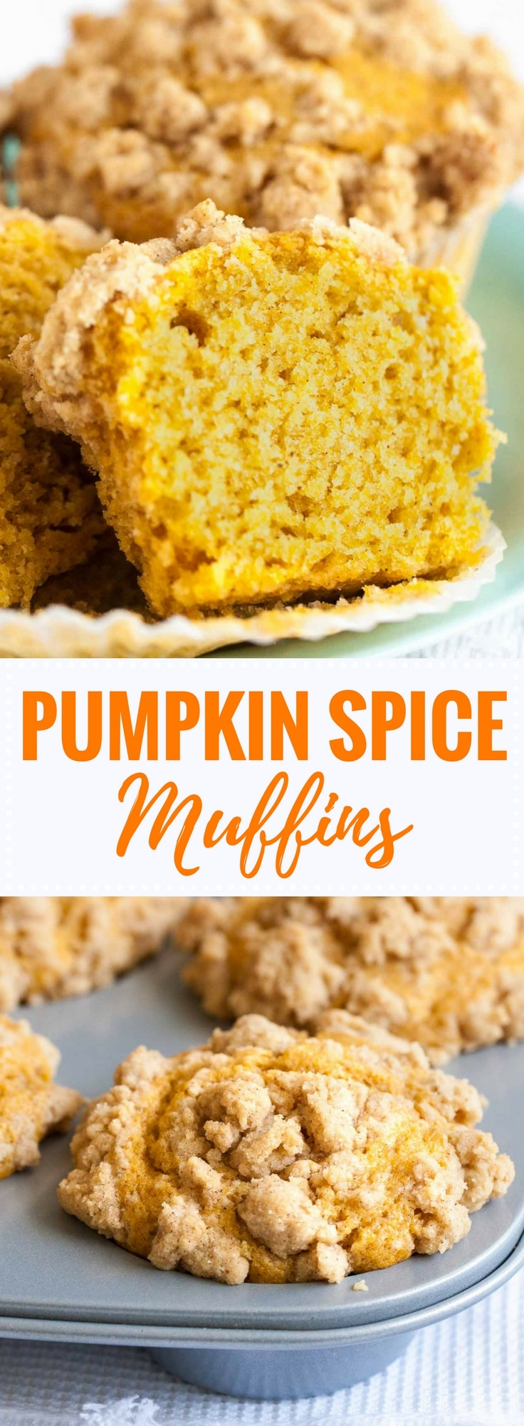 Pumpkin Spice Muffins are so flavorful, have a tender texture and are so moist! They are topped with crunchy pumpkin spice crumbs and take only 10 minutes to whip up. An easy pumpkin muffin recipe that tastes delicious for breakfast, brunch, or as a snack! #pumpkin #pumpkinspice #muffinrecipe #streusel