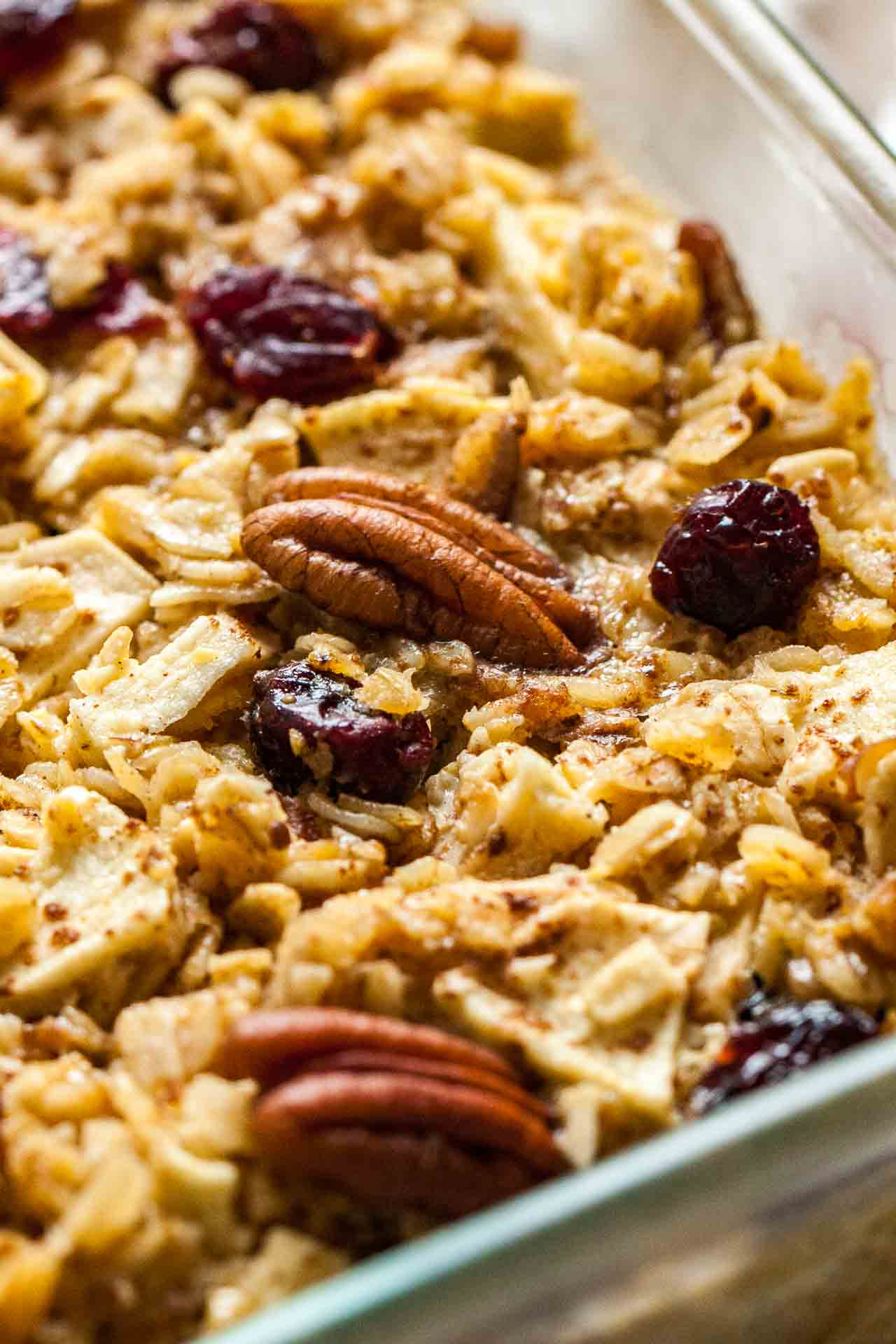 Oven Baked Oatmeal with apples, pecans, and cranberries.