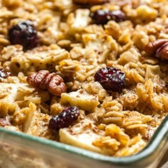 This easy Baked Oatmeal with Apples, Cranberries, and Pecans makes a delicious holiday breakfast that everyone will love!