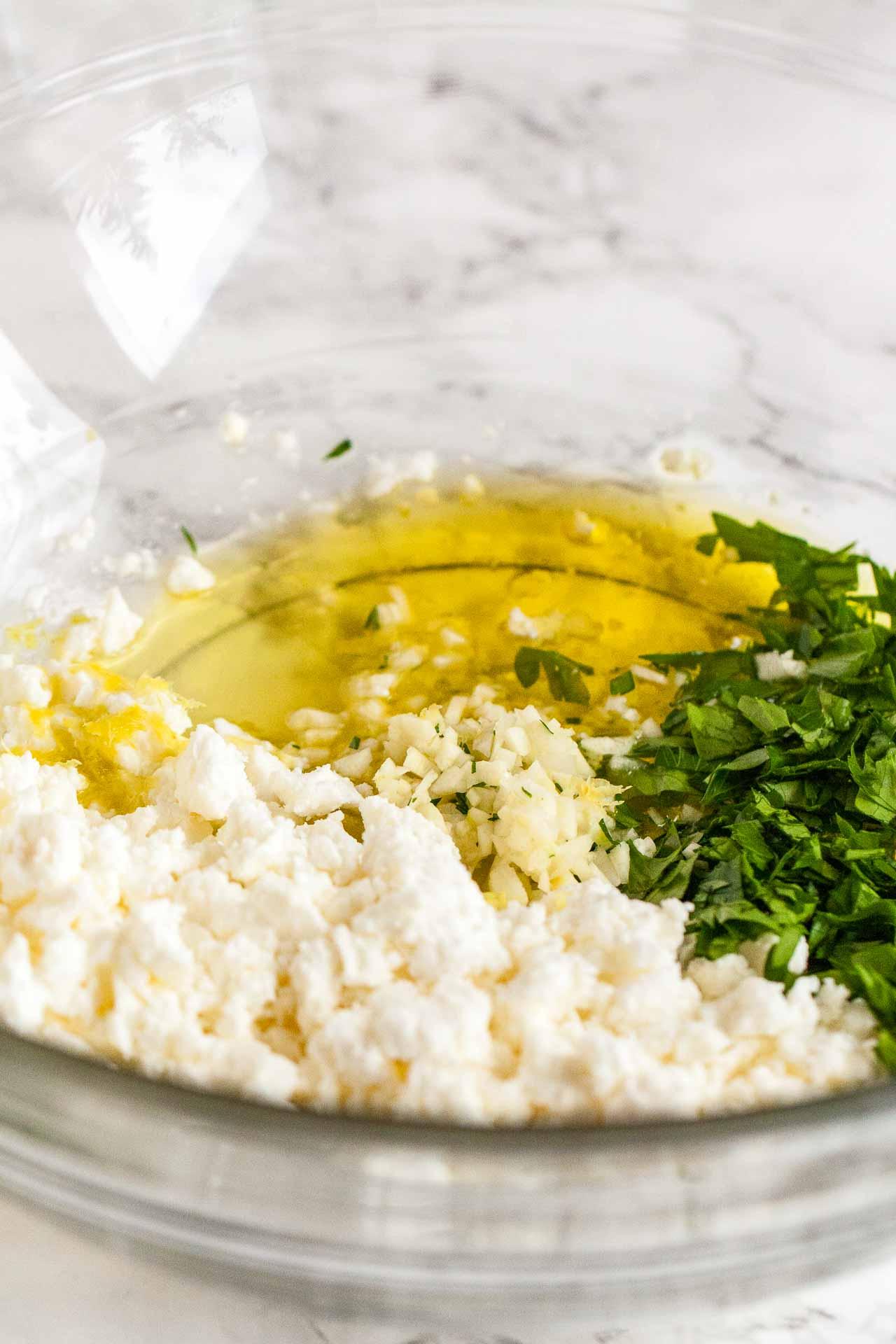 Feta, Garlic, Lemon, and Lemon Dressing for Boiled Potatoes
