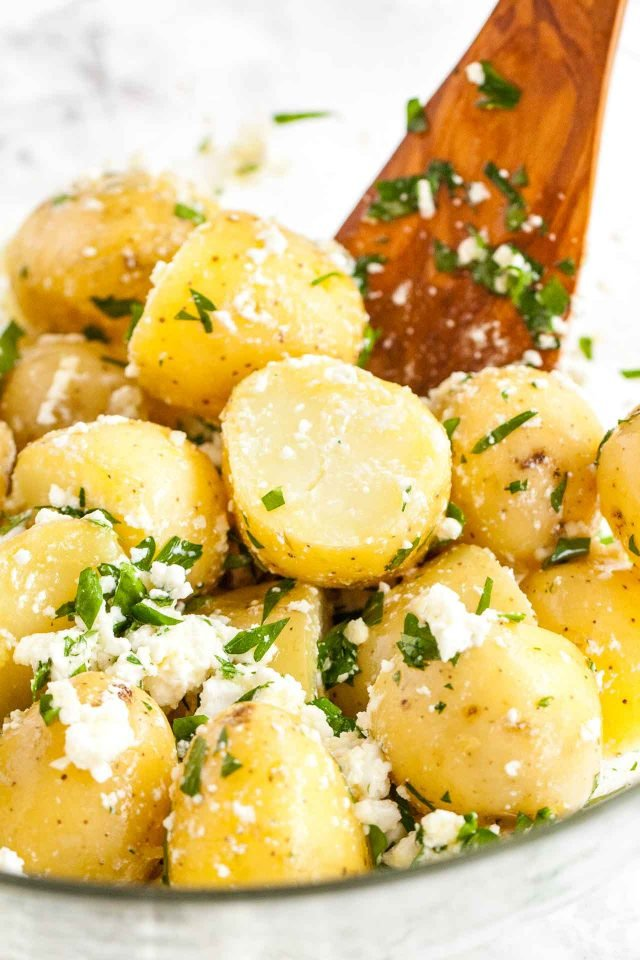 Boiled New Potatoes with Feta, Garlic, and Lemon