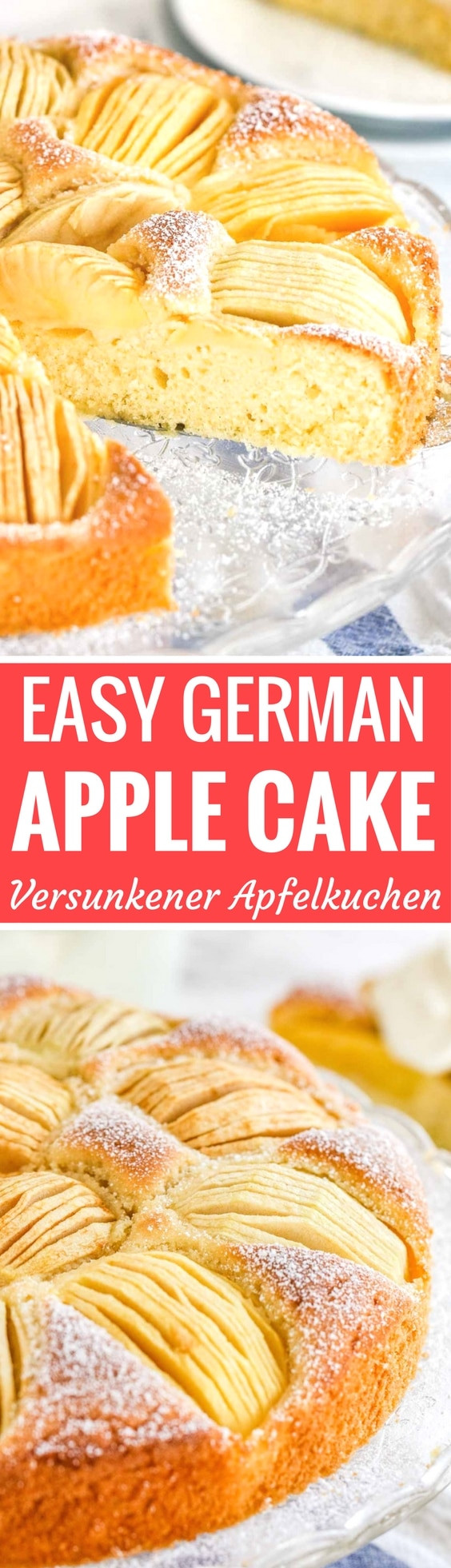 German Apple Cake (Versunkener Apfelkuchen) is a traditional German cake that is so easy to make even if you aren't totally kitchen confident! With a simple batter that rises up and bakes around the apples this easy coffee cake is the perfect fall dessert that tastes best with a dollop of whipped cream on top.