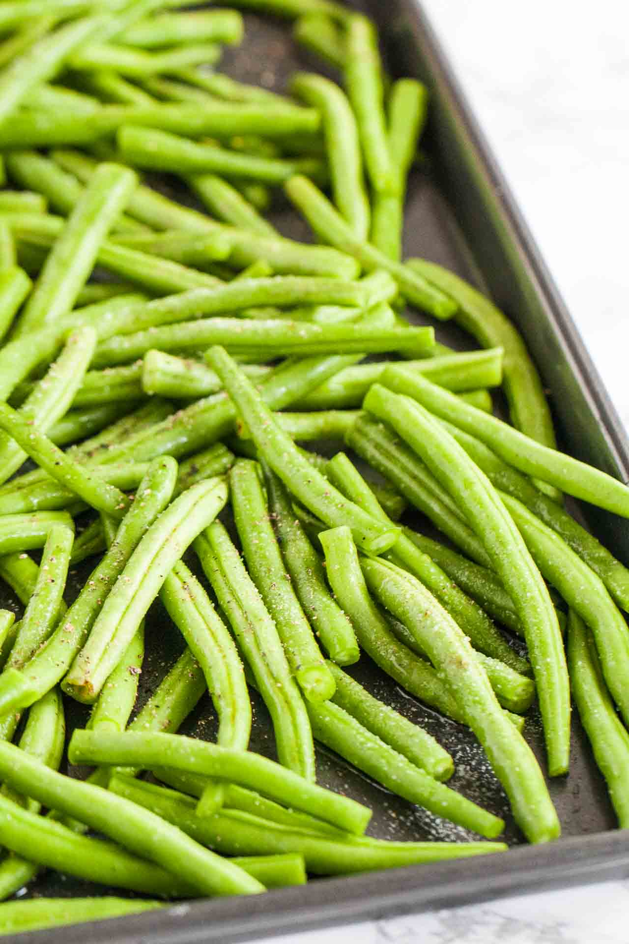 Fresh Green beans are roasted in the oven to perfection!