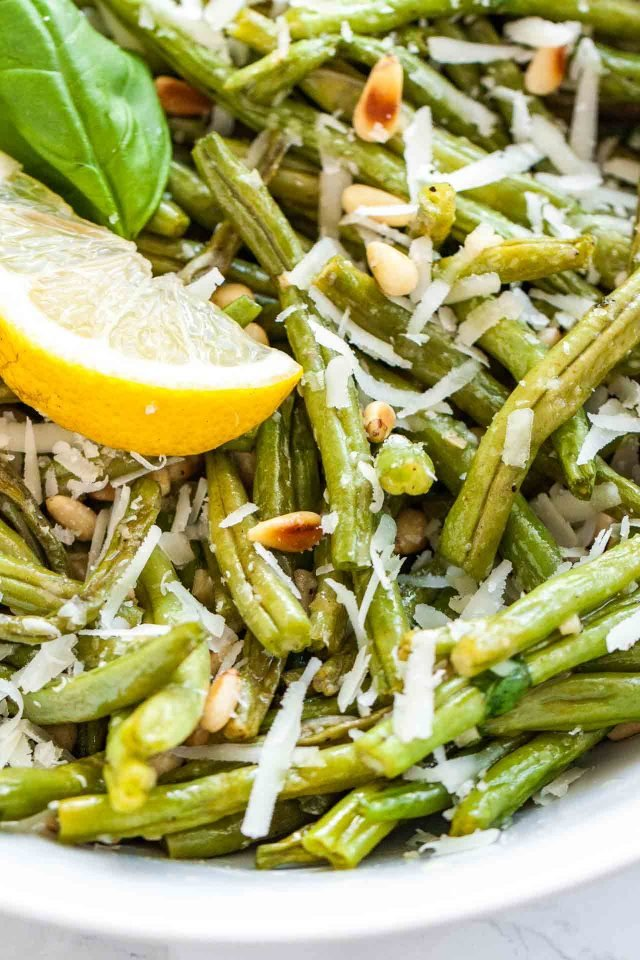 Roasted Green Beans with Parmesan Cheese and Pine Nuts