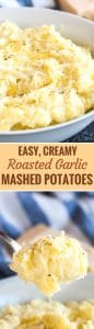 Roasted Garlic Mashed Potatoes are so flavorful and make an easy side dish for the holidays and family dinners! Loaded with roasted garlic and parmesan cheese these creamy mashed potatoes will surely become a dinnertime favorite.