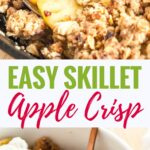 Skillet Apple Crisp is hard to resist! Perfectly cooked apples and a crunchy brown sugar oatmeal topping come together in this easy and flavorful recipe that is always a hit. This apple crumble topped with a big scoop of vanilla ice cream will become your favorite fall dessert!
