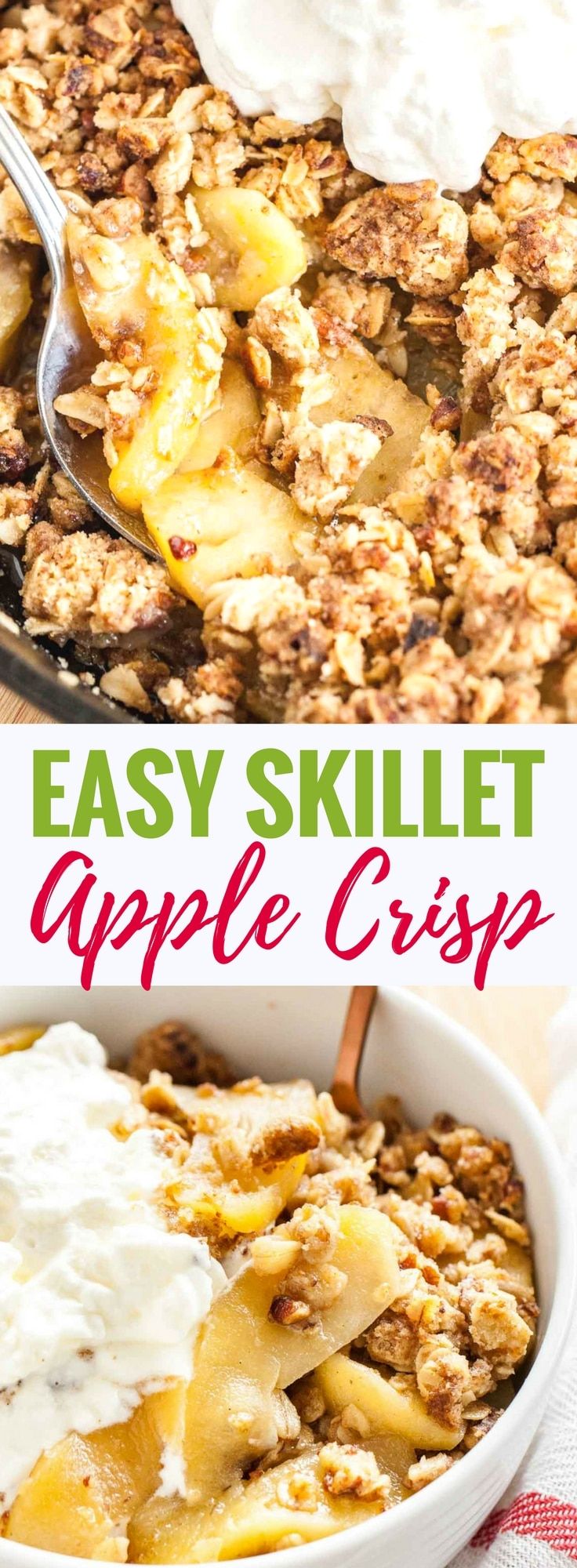This easy Skillet Apple Crisp topped with a big scoop of vanilla ice cream will become your favorite fall dessert! Perfectly cooked apples and a crunchy brown sugar oatmeal topping come together in this easy and flavorful recipe that is always a hit. This apple crumble is perfect for the holidays!