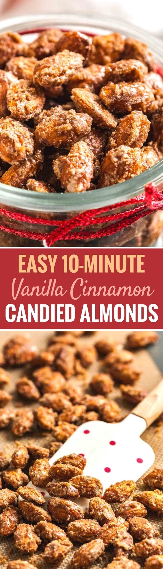 Easy Cinnamon Candied Almonds are sweet, crunchy and make your house smell amazing! These roasted nuts can be made in less than 10 minutes and make a great snack for your next holiday party but also a great homemade gift. #candiednuts #holidayrecipe #cinnamon #almonds