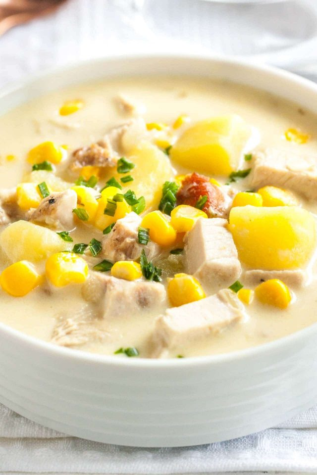 Turkey Soup with Corn and Potatoes takes leftover turkey to a whole new level of deliciousness!