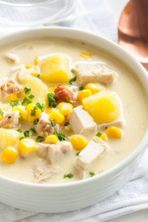 Creamy Leftover Turkey Soup with Potatoes and Corn is a rich and hearty chowder that's perfect for using leftovers from Thanksgiving! This easy warming recipe comes together in less than 30 minutes and is sure to be a family favorite.