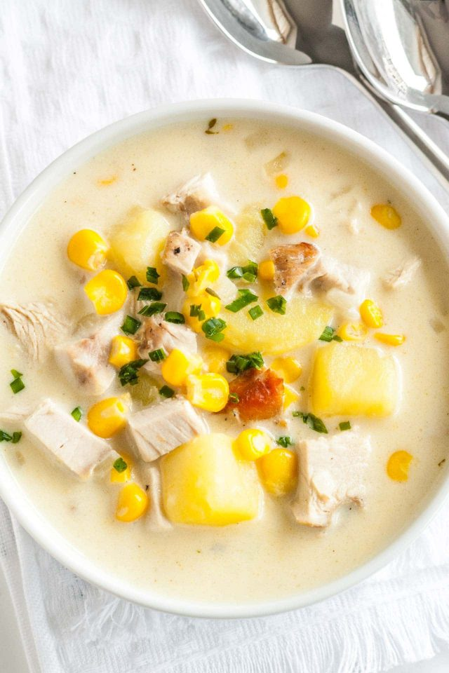 Creamy Turkey Soup with Corn and Potatoes is a warming and hearty soup that is perfect for using leftover turkey (or chicken).