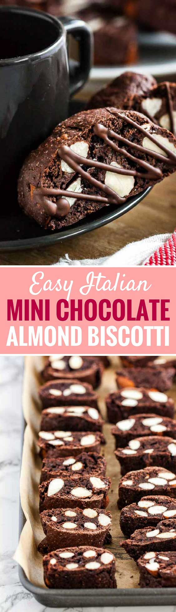 Chocolate Almond Biscotti are a coffee-pairing favorite, they are crunchy, studded with almonds, and easy to make from scratch!  These twice-baked Italian cookies are perfect for dipping into a cup of coffee or hot chocolate.