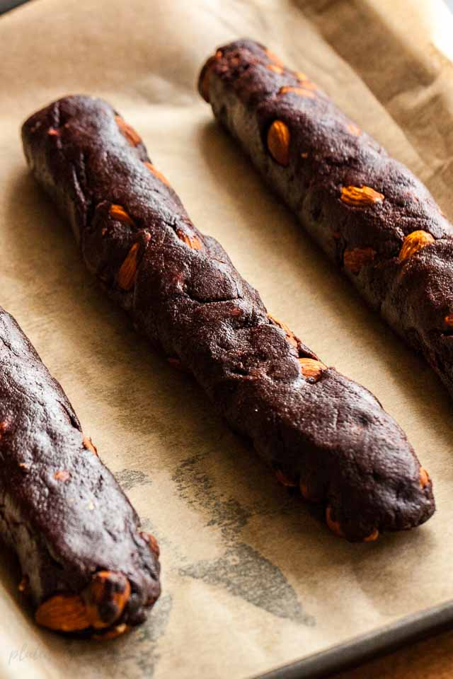 The dough for the Chocolate Biscotti is formed into logs and then baked.