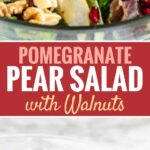 Pomegranate Pear Salad with Walnuts is loaded with flavors and would be a delicious addition to your Holiday dinner table! A vibrant salad full of different textures that is easy to whip up and makes every dinner special.