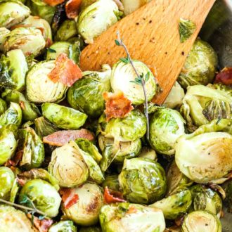 Roasted Brussels Sprouts with Bacon are an easy side dish that is super flavorful and perfect for the holidays!