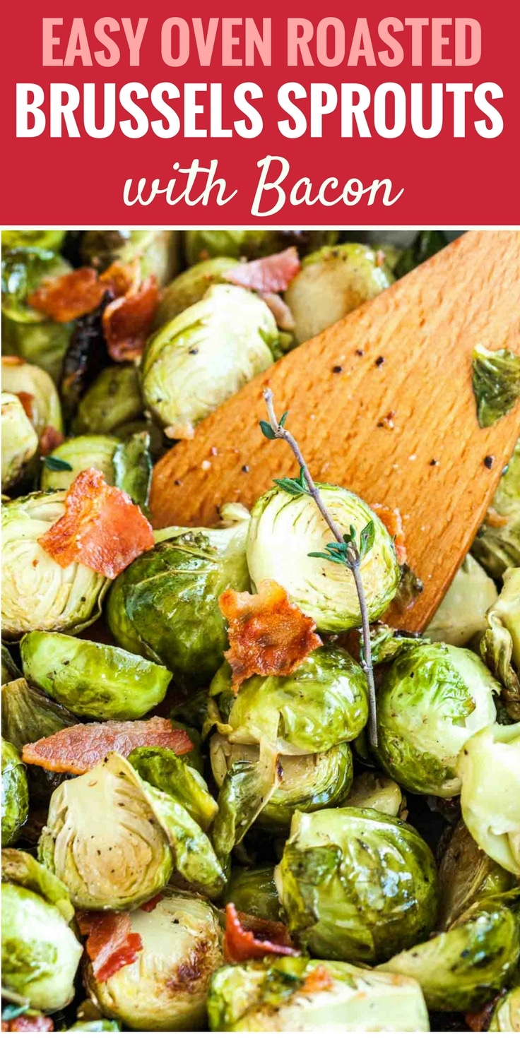 Roasted Brussels Sprouts with Bacon are easy to make with just a few simple ingredients but are so flavorful! Roasted in the oven to perfection and tossed with crispy bacon, this easy side dish is perfect for a holiday meal.