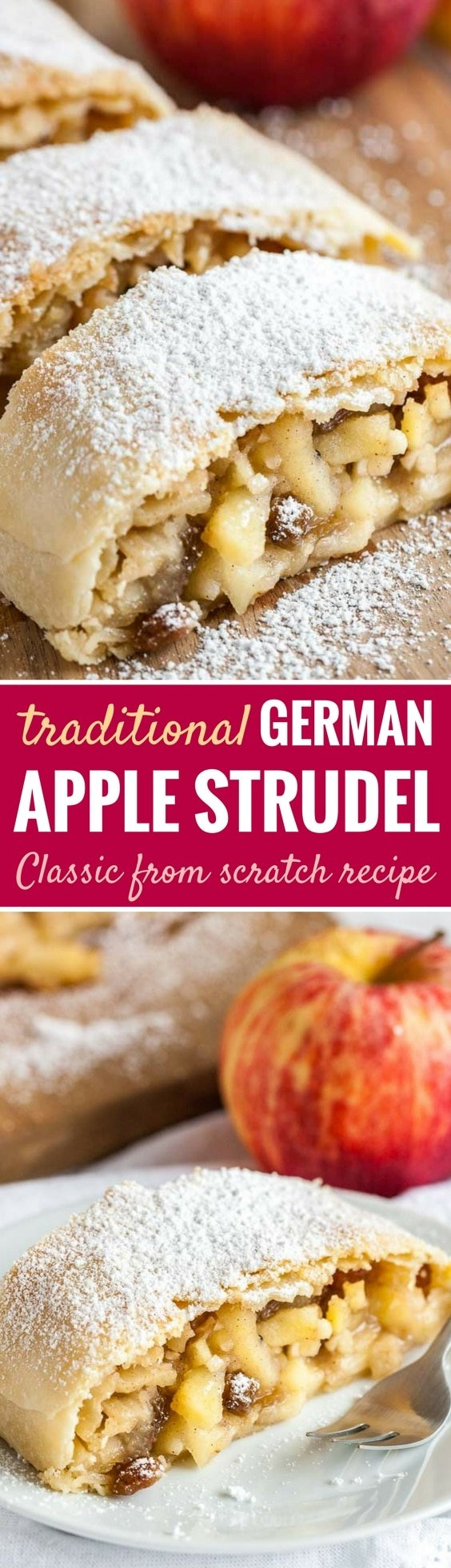Apple Strudel is much easier to make from scratch than you think and tastes amazing dusted with powdered sugar! Everyone will love this traditional Apfelstrudel that has a flaky crust and is filled with juicy spiced apples.