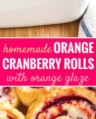 Cranberry Orange Rolls are the perfect holiday breakfast! Filled with sweet and tart cranberry jam and topped with a delicious, sweet orange icing, these perfectly gooey and tender Orange Sweet Rolls are a family favorite.