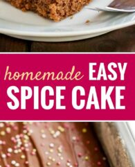 This easy Spice Cake Recipe is an old family recipe and makes your house smell amazing! A moist and chocolatey spiced sheet cake made with holiday spices that is easy to make from scratch and tastes even better on the next day.
