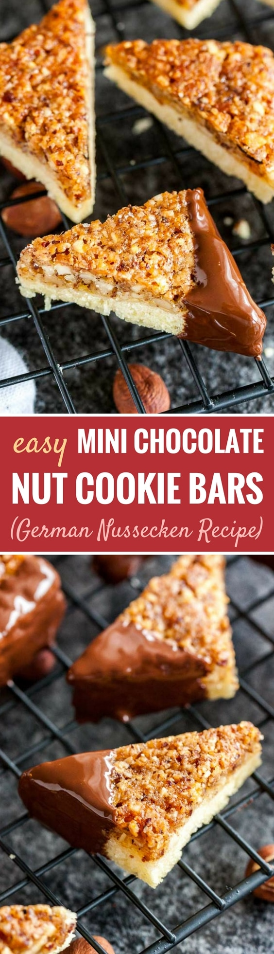Nut Corners are called Nussecken in Germany and make a delicious addition to your cookie platter! Made with buttery shortbread, a sweet apricot jam layer, and a caramelized hazelnut topping, these mini nut bars are a favorite of my husband and a hit all year round.