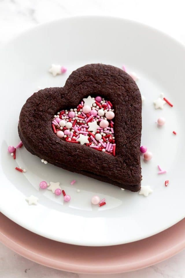 Chocolate valentine's day cookies with sprinkles